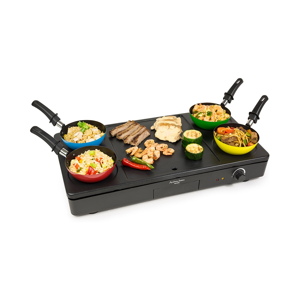 andrew james aj000219 party wok grill plate with mini. Black Bedroom Furniture Sets. Home Design Ideas