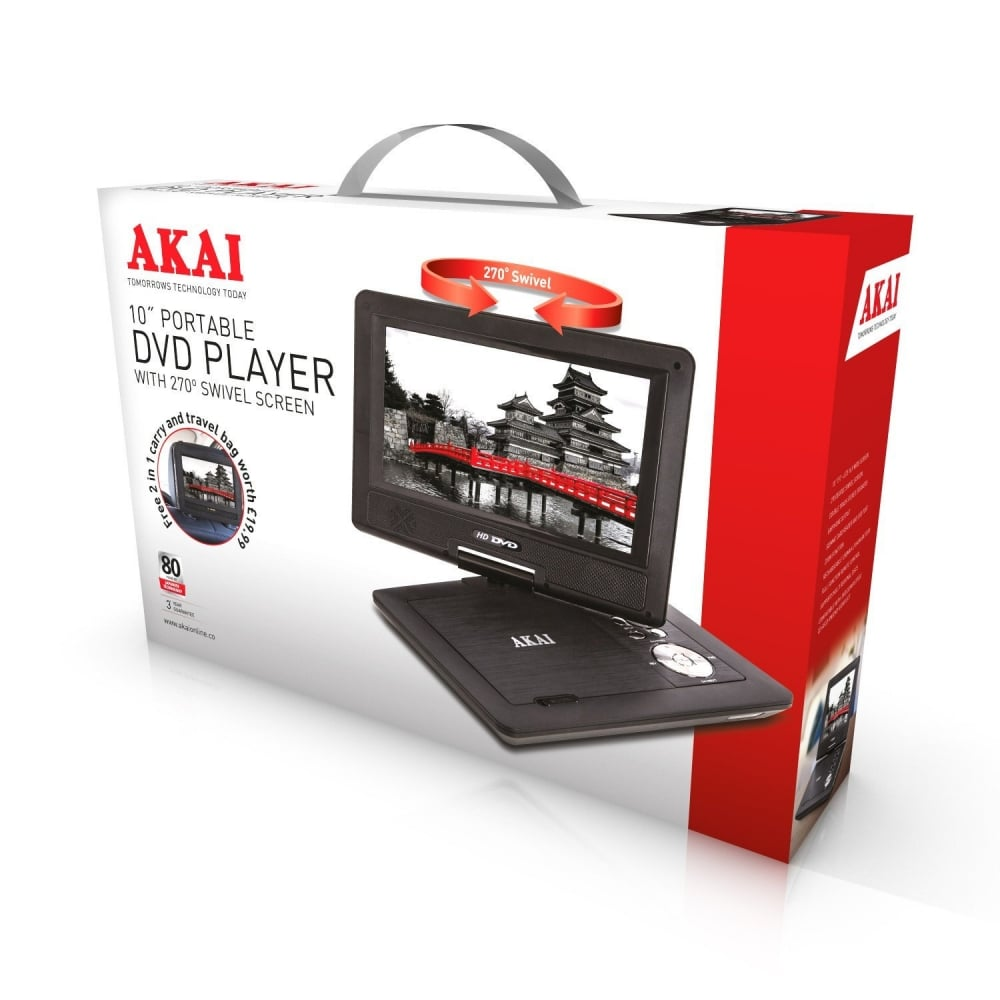 AKAI A51006 Multi-Region Portable 10 inch DVD Player with SD Card Reader  and USB Port