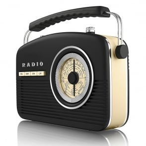 A60010 Portable 4 Band Retro Radio, 14W, Black