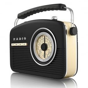 A60010 Portable 4 Band Retro Radio, 14W, Black