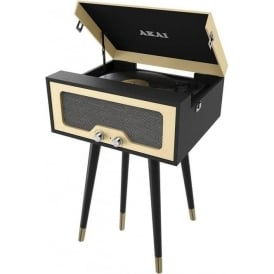 A60022 Bluetooth Speaker and Turntable Player, Black/Cream