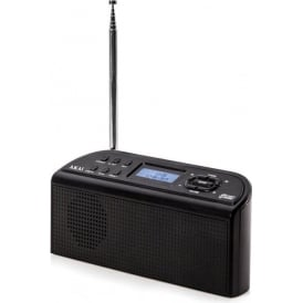 A61016 DAB Digital Radio with LCD Display and Built-In Alarm Clock Functions, Black