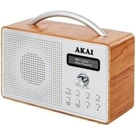 A61018 DAB Radio with LED Screen and Alarm Clock with Sleep Timer, Oak