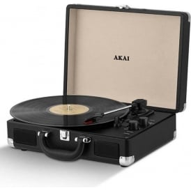 Briefcase Style 3-Speed Portable Turntable with Built-In Speakers, Supports Vinyl, Bluetooth, MP3 and RCA Output