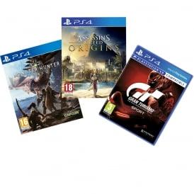Assassins Creed Origin, GT Sport, Monster Hunter: World Bundle