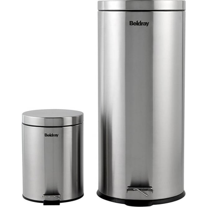 BELDRAY Round Pedal Bin Set, 30L & 5L, Stainless Steel