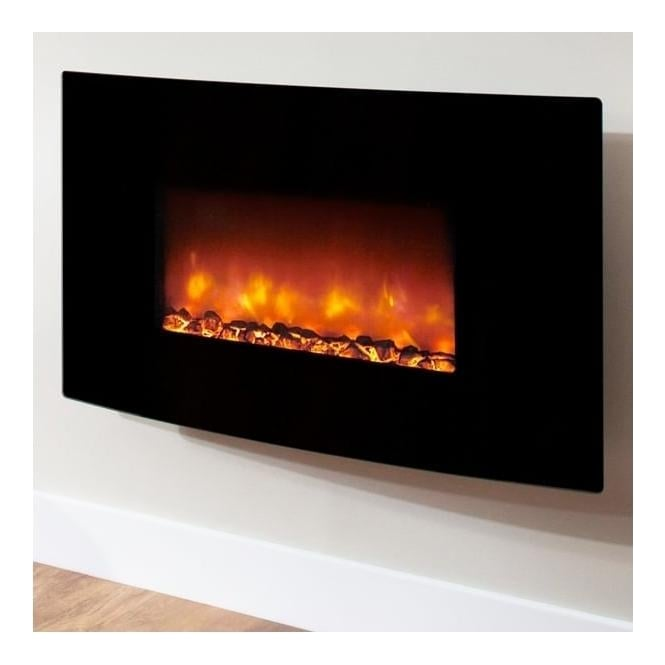 BEMODERN Orlando Curved Black Glass Electric Fire