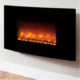 Orlando Curved Black Glass Electric Fire
