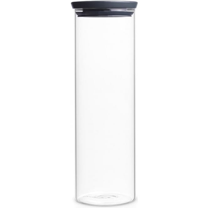 Brabantia 298240 Stackable Glass Jar 1.9 Litre, Dark Grey