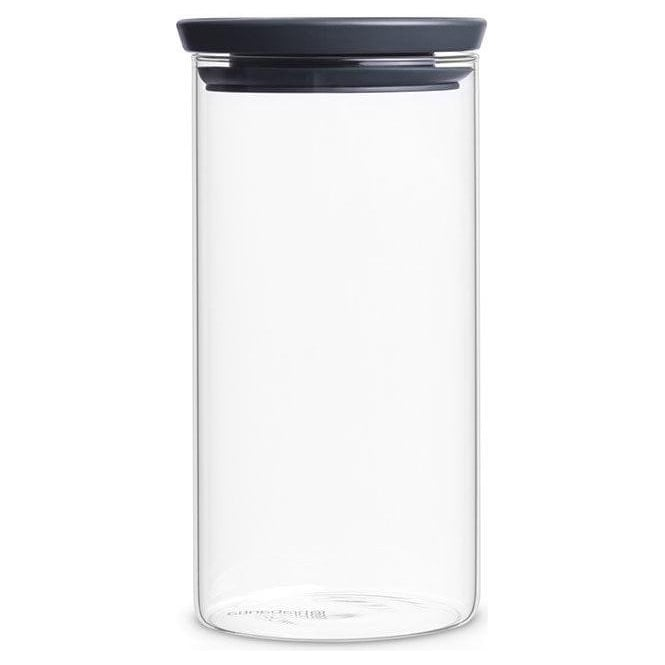 Brabantia 298264 Stackable Glass Jar, 1.1 Litre, Dark Grey