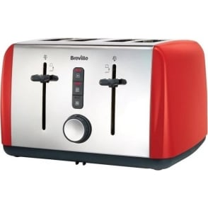 Colour Collection 4 Slice Toaster, Red