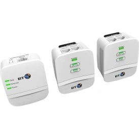 BT Mini Wi-Fi 600 Home Hotspot Powerline Adapter Kit, White, Pack of 3