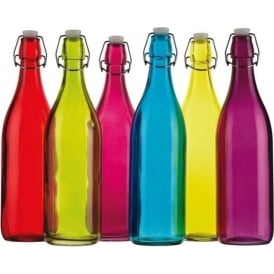 Coloured 1L Glass Bottle, Assorted Colours