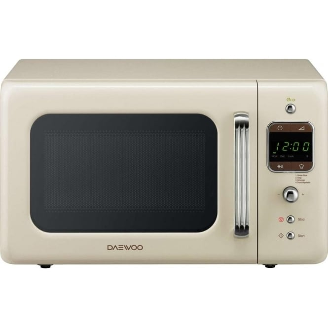 Daewoo 800W Retro Microwave, 20L, Cream