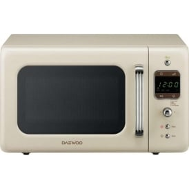 800W Retro Microwave, 20L, Cream
