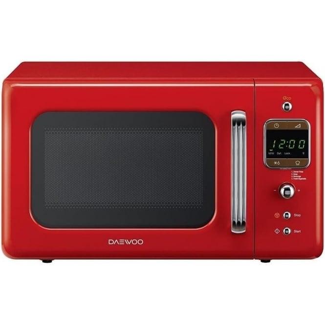 Daewoo 800W Retro Microwave, 20L, Red