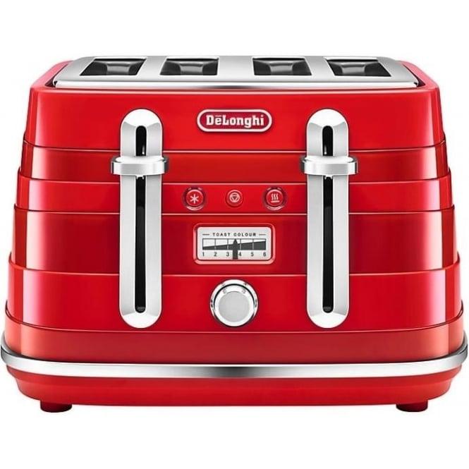 De'Longhi Avvolta 4 Slice Toaster, Red