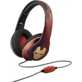 Marvel Iron Man Over the Ear Headphones with Built-In Microphone