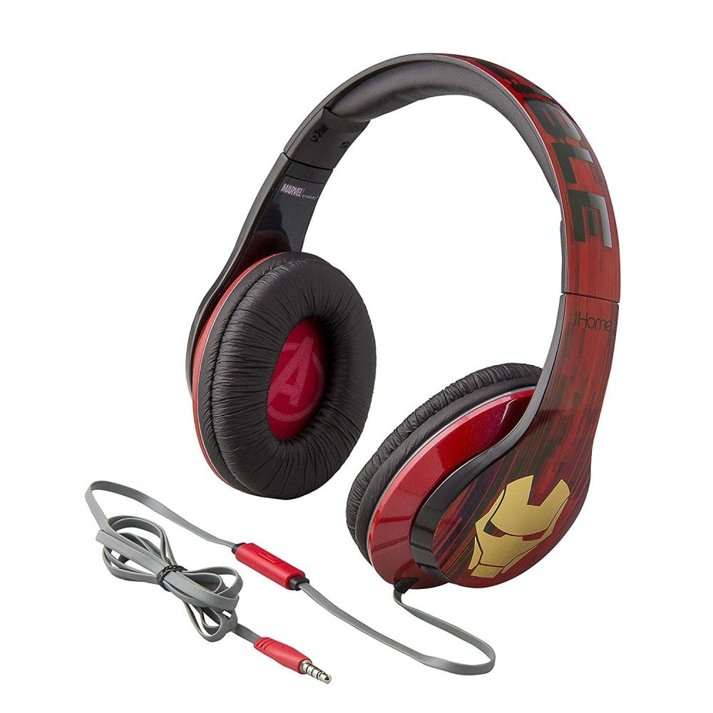 ekids marvel iron man over the ear headphones with built in microphone sound vision from. Black Bedroom Furniture Sets. Home Design Ideas