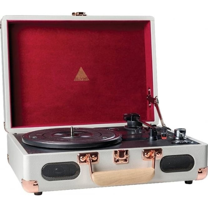 Elyxr ELX-1007 Audio Revolution Portable Vinyl Player with Deluxe Briefcase Housing, Grey and Burgundy
