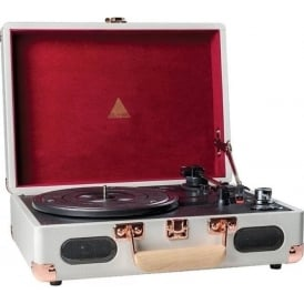 ELX-1007 Audio Revolution Portable Vinyl Player with Deluxe Briefcase Housing, Grey and Burgundy