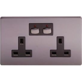MIHO021 Remote and App Controlled Double Wall Socket, Black Nickel