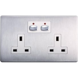 MIHO023 Remote and App Controlled Brushed Steel Double Wall Socket