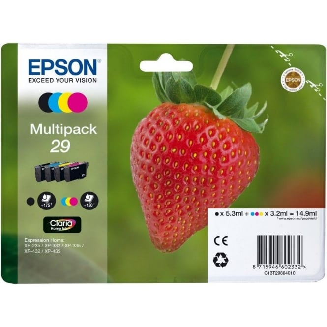 Epson 29 Claria Home Strawberry Ink Cartridge - Black/Cyan/Magenta/Yellow (Multi-Pack)