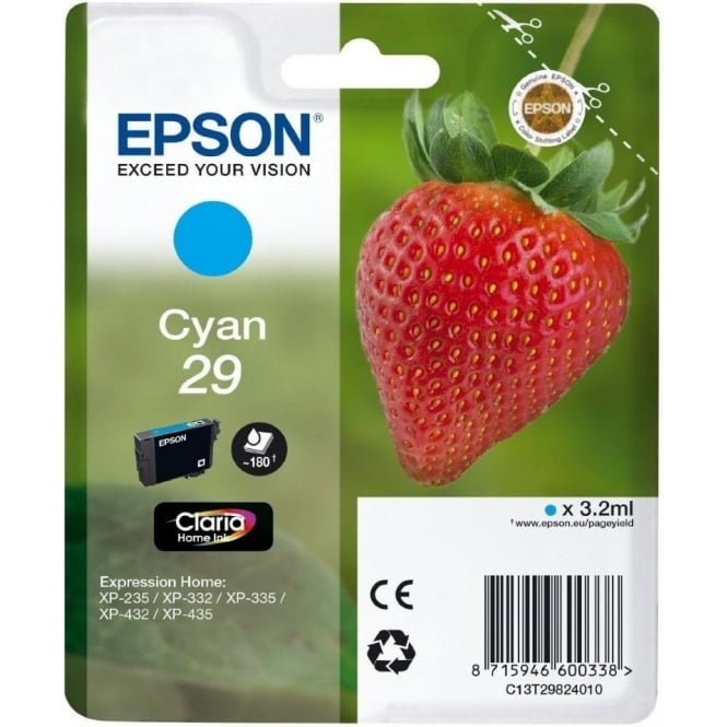 Epson Genuine Cyan 29 Ink Cartridge - C13T29824010