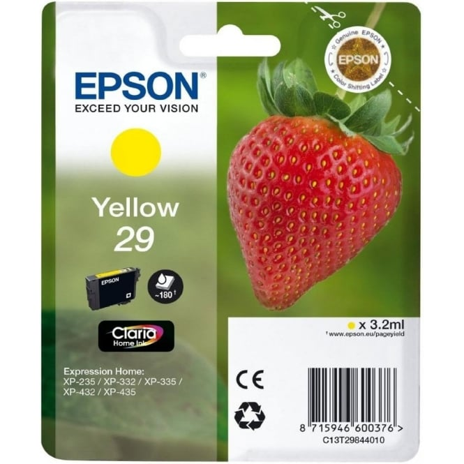 Epson Genuine Yellow 29 Ink Cartridge - C13T29844010