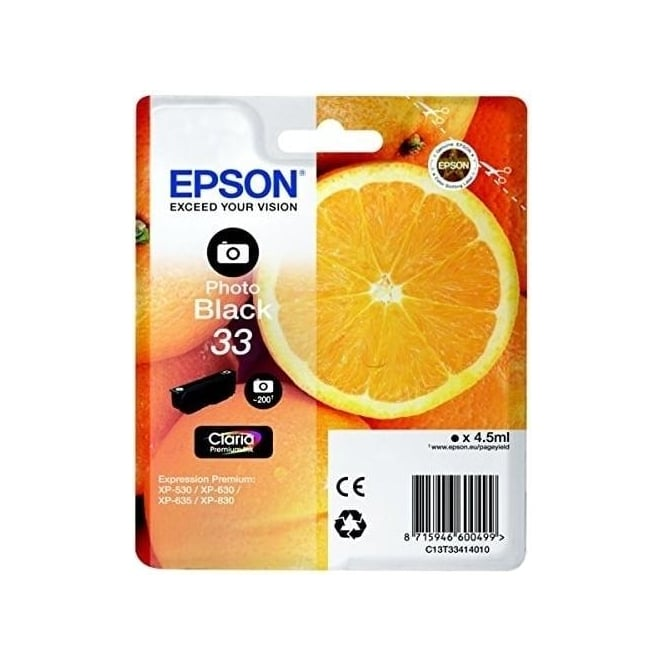 Epson XP530/630/635/830 33 Claria Oranges Premium Photo Ink Cartridge, Black