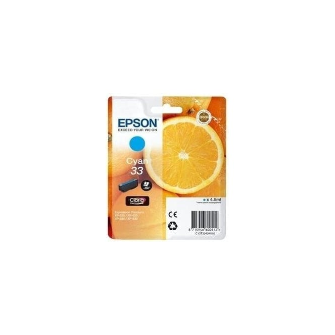 Epson XP530/630/635/830 33 Claria Oranges Premium Photo Ink Cartridge, Cyan