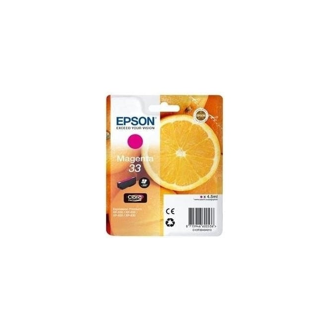 Epson XP530/630/635/830 33 Claria Oranges Premium Photo Ink Cartridge, Magenta
