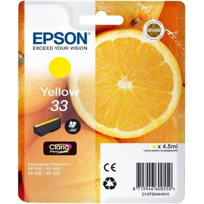 Epson XP530/630/635/830 33 Claria Oranges Premium Photo Ink Cartridge, Yellow
