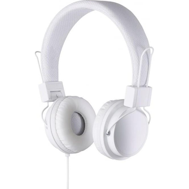 Goodmans GHP03S Over-ear Headphones with Microphone  and Volume Control, White