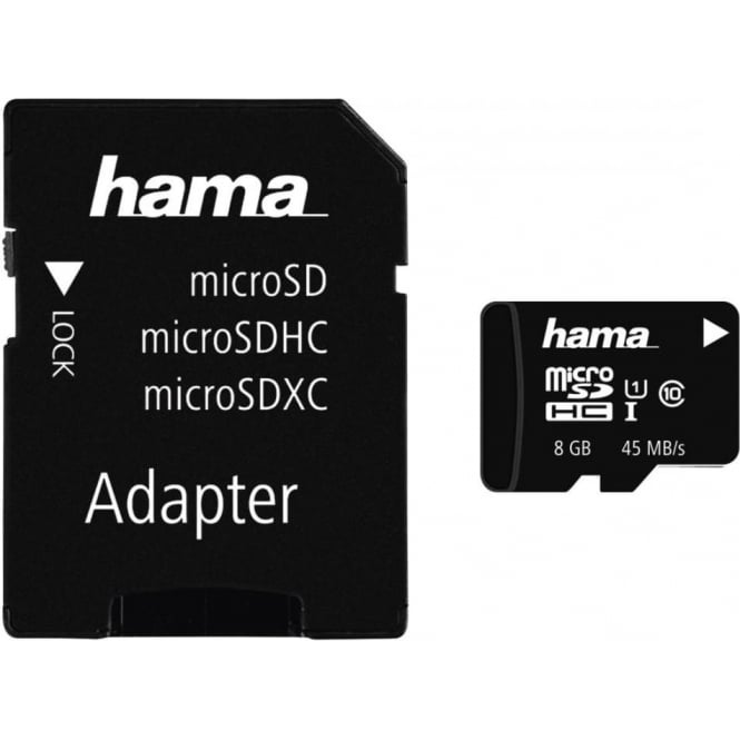 Hama microSDHC 8GB Class 10 UHS-I 45MB/s + Adapter/Photo