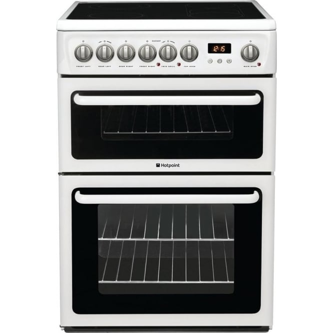 Hotpoint HAE60P Freestanding 60cm Electric Cooker with Double Oven and Ceramic Hob