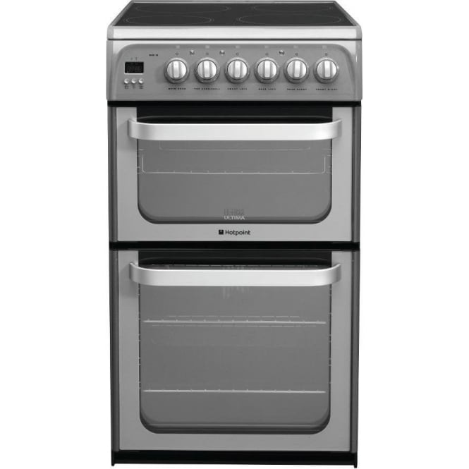 Hotpoint HUE52G Freestanding 50cm Electric Cooker with Double Oven and Ceramic Hob