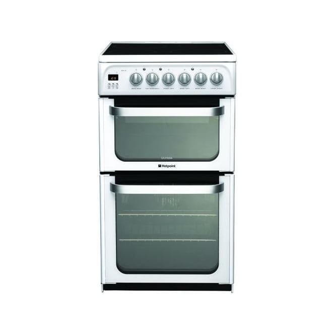 Hotpoint HUE52P Freestanding 50cm Electric Cooker with Double Oven and Ceramic Hob