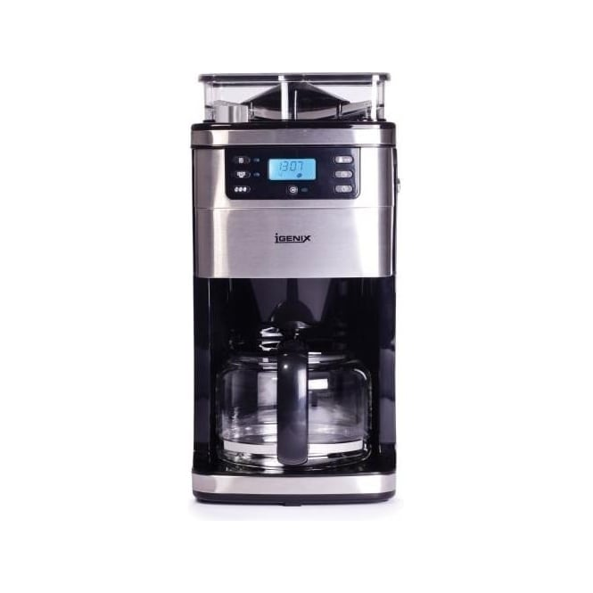 Igenix Grind & Brew Digital Filter Coffee Maker, Brushed Stainless Steel