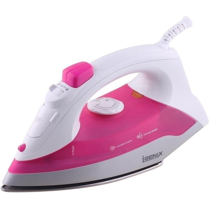 Igenix IG3111 Steam Iron, 1200W, Pink/White