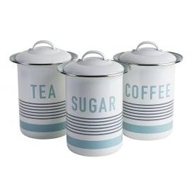 Vintage Tea, Coffe & Sugar Tin Canister Set