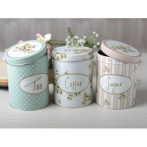 Cottage Flower Set of 3 Storage Tins