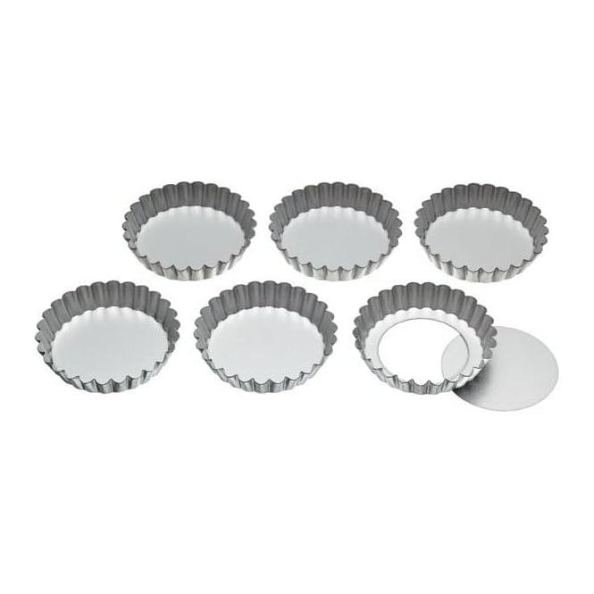 Kitchen Craft KCTARTLET Set of Six 10cm Loose Base Tart Tins