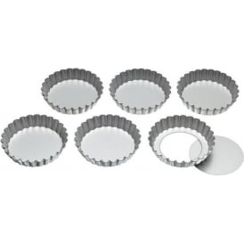 KCTARTLET Set of Six 10cm Loose Base Tart Tins