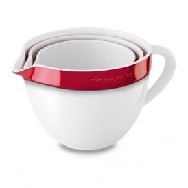 3 Piece Ceramic Nesting Bowl Set, Red