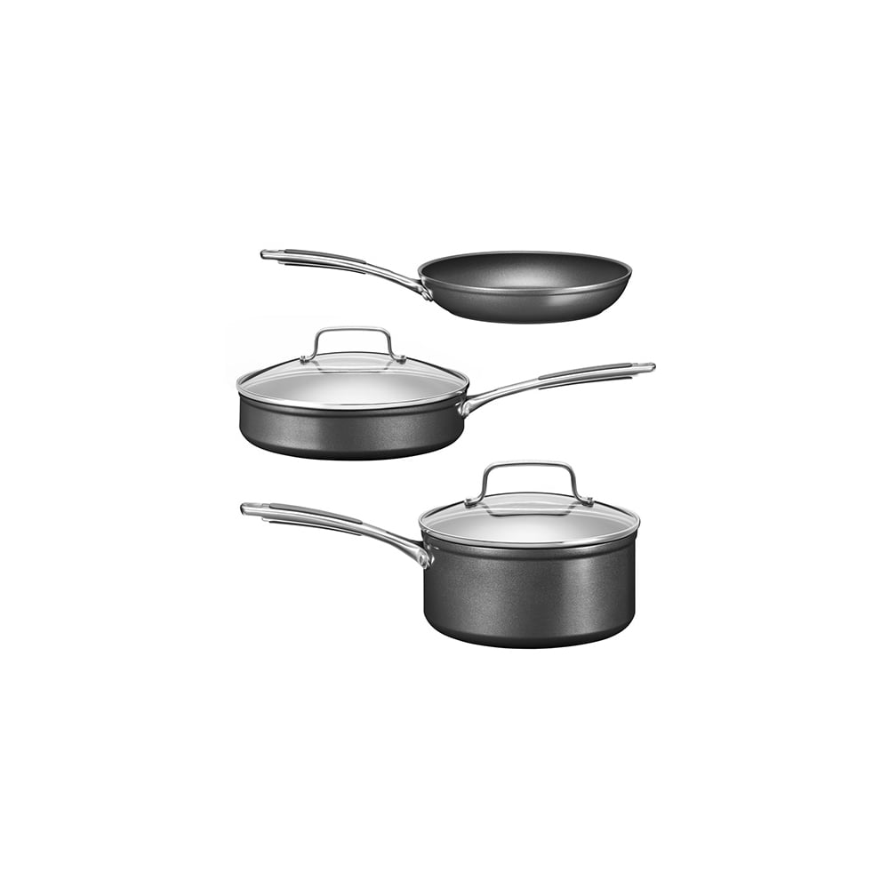 Kitchenaid kc2h1s05bk hard anodized 3 piece cookware set kitchenaid from uk - Kitchen aid pan set ...