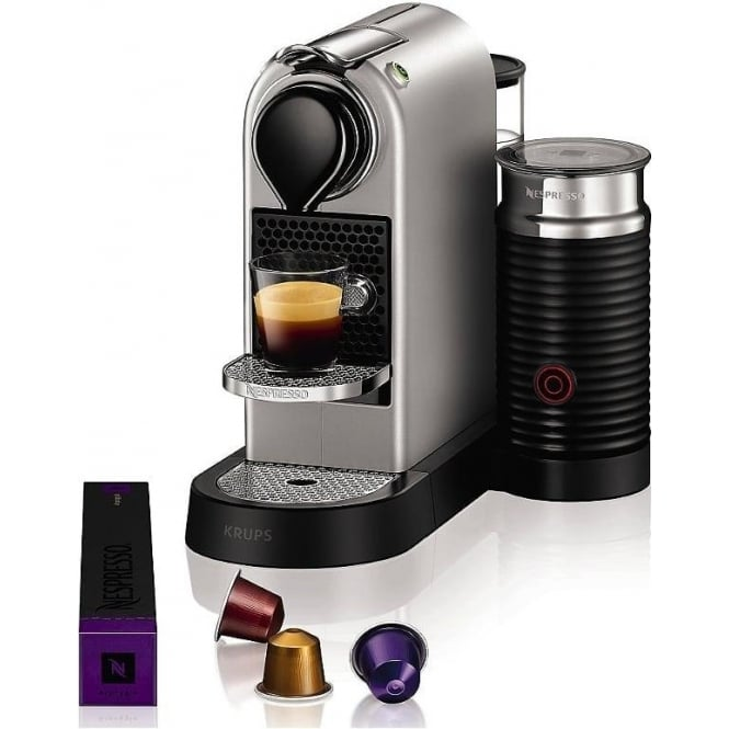 Krups Citiz Nespresso Machine, Silver, with Aeroccino3 Milk Frother