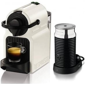 XN101140 Nespresso Inissia White Capsule Coffee Machine with Aeroccino Milk Frother