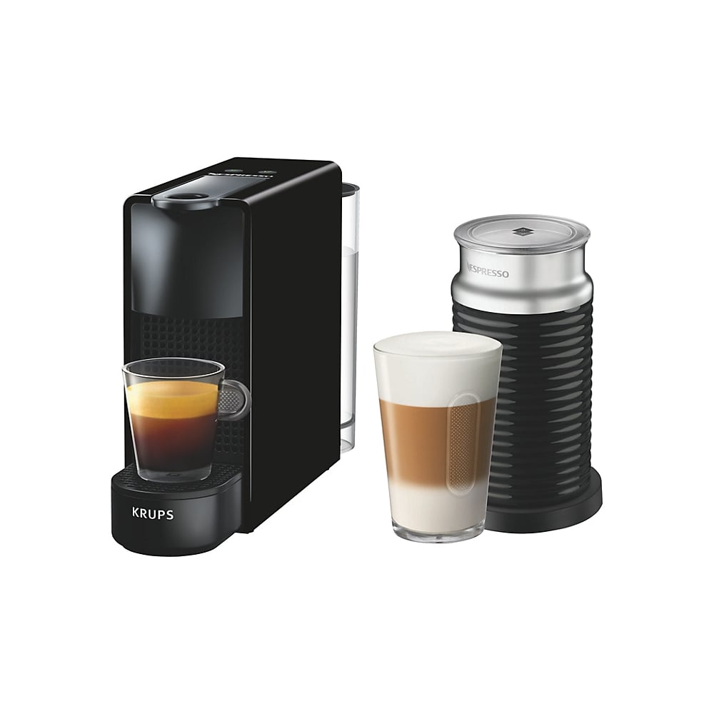 krups xn111840 nespresso essenza coffee machine with aeroccino black home appliances from. Black Bedroom Furniture Sets. Home Design Ideas